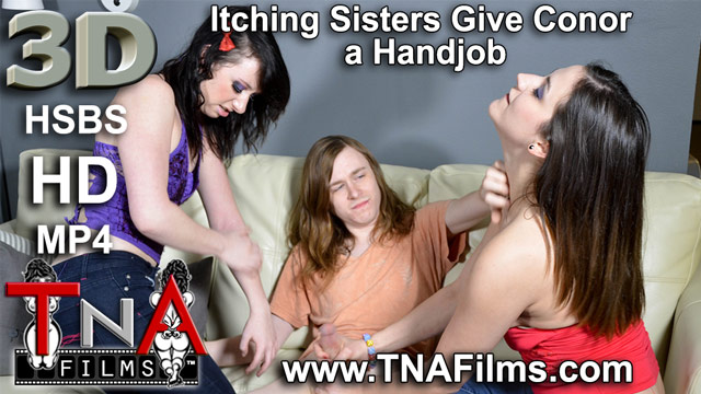 3D Taboo Itching Sisters Give Conor a Handjob Porn and Fetish Video