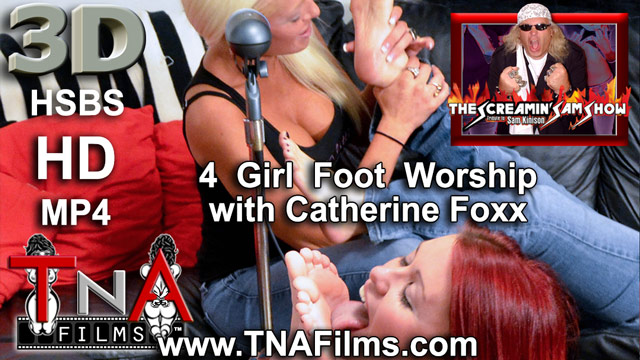 3D 4 Girl Foot Worship Fetish Video Clip with Catherine Foxx