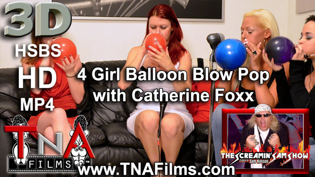 3D 4 Girl Balloon Blow up and Pop with Catherine Foxx Fetish Video